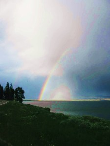 Rainbow over Lake Yellowstone, Wyoming